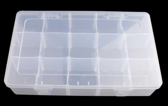 Коробка пластиковая для хранения, 15 ячеек, размер: 27,5*16,5*5,6 см