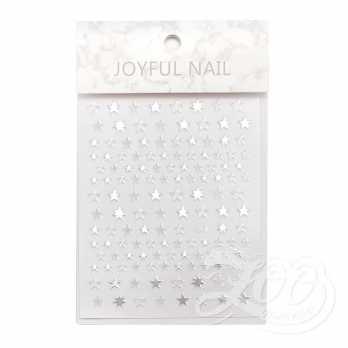 Наклейки звёздочки серебро 1384 Zoo Nail Art