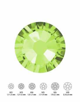 Стразы стеклянные MIX PERIDOT (оливковый) №3 №4 №6 150 шт