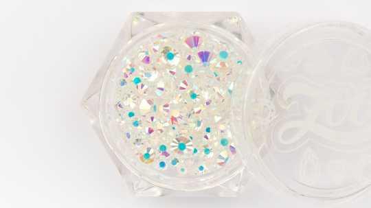 Стразы стеклянные прозрачные АВ голография MIX CLEAR (микс размеров) 200 шт 1235 Zoo Nail Art