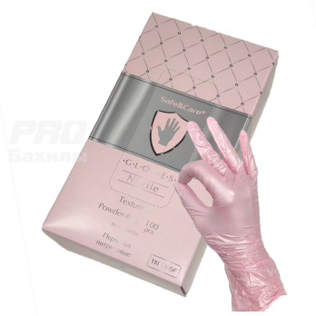 Перчатки Safe&Care нитриловые (403F) розовые перламутровые TN 31-5F/1000 (XS)