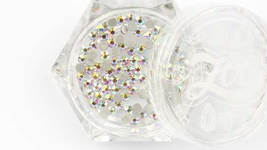 Стразы стеклянные прозрачные AB голография SS6 (2 мм) 100 шт 1089 Zoo Nail Art