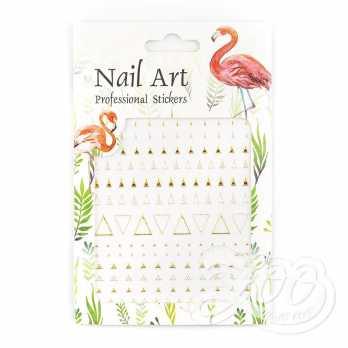Наклейки металлизированные треугольники золото 1376 Zoo Nail Art