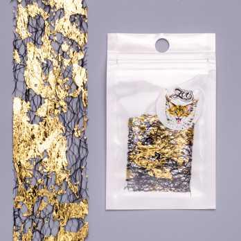 """1584 Фольга """"Сетка поталь"""" 4*25 см чёрный/золото Zoo Nail Art"""
